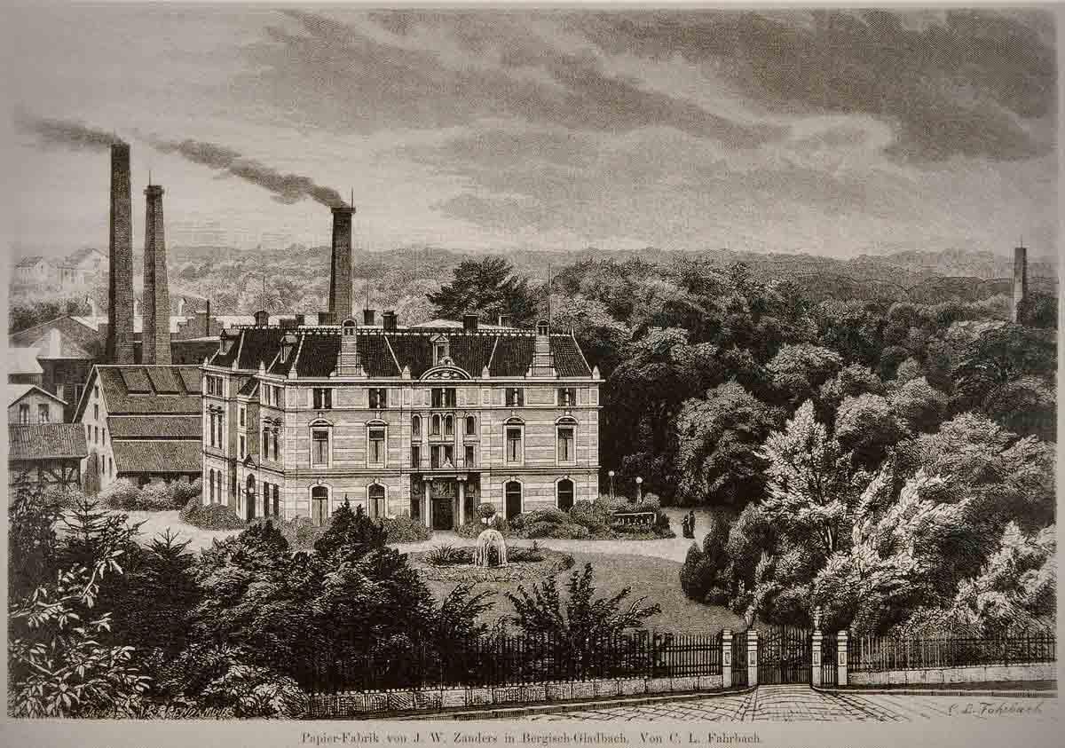 Бумажная фабрика (на заднем плане) и Вилла Зандерс, около 1880 года
