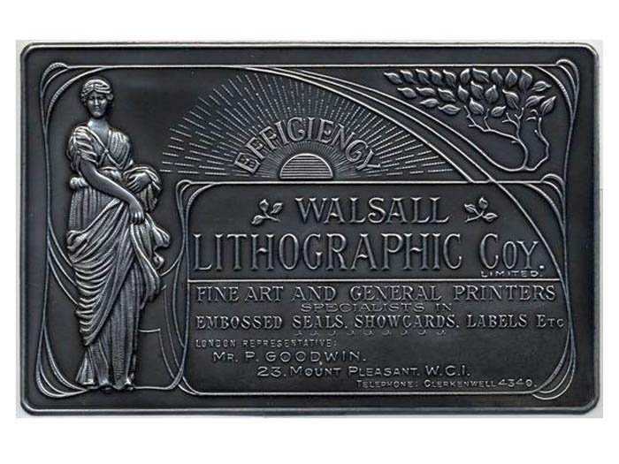 Metcraft plaque embossed with an art nouveau style design advertising walsall lithographic company