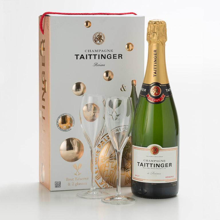 Taittinger brut reserve nv gift pack