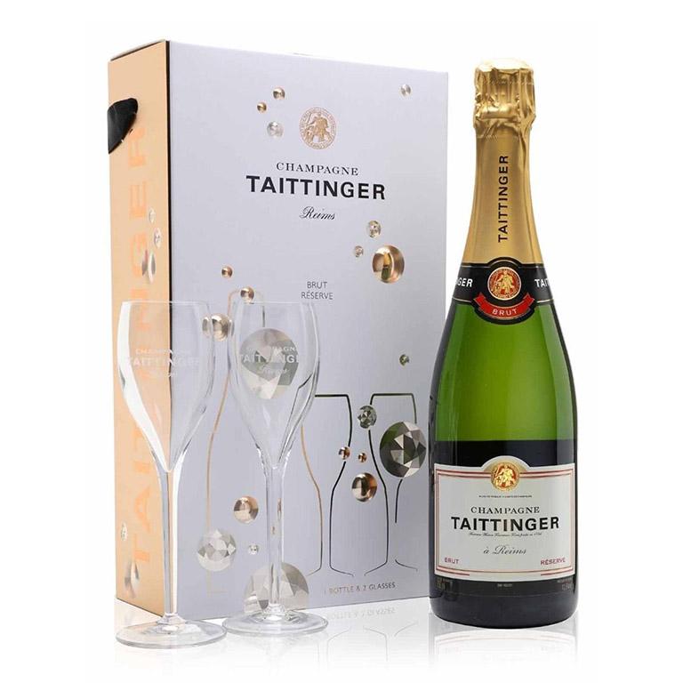 Taittinger brut reserve two flutes gift set